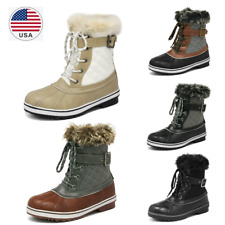 Women Winter Waterproof Snow Boots Faux Fur Warm Laced Up Low Heel Mid Cald Boot