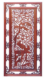 Chinese Oriental Rectangular Vertical Birds Wood Wall Panel cs1362-2