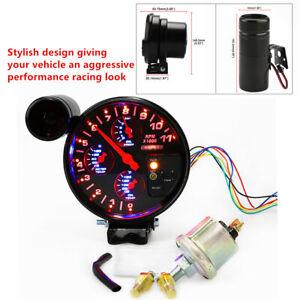 Tachometer RPM Meter Light Oil Pressure Water Oil Temp Gauge Adjustable Setting