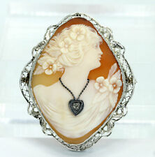 white gold carved shell unique .03C Antique diamond cameo brooch pin pendant 14K