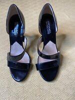 Ladies Michael Kors Double Strap Pumps 7 M Black Patent High Heel Sandals Shoes