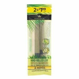KING PALM MINI SIZE 2 pack Wrap Rolling Paper Made From Cordia Leaf - Slow Burn