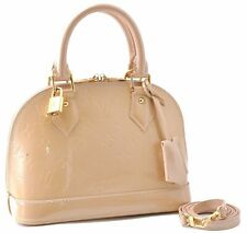Authentic Louis Vuitton Vernis Alma BB 2Way Shoulder Hand Bag Beige LV A6797