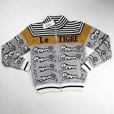 Le tigre mens 100%authentic L/S fancy rich zip sweater size Medium gray logo
