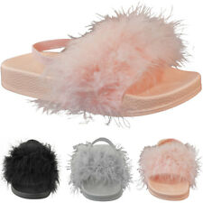 Kids Girls Faux Fur Sliders Summer Sandals Slides Beach Holiday Flip Flops Size