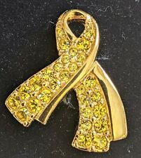 """Swarovski Yellow Ribbon Broach Pin """"Honor Our Troops� Gold Tone"""