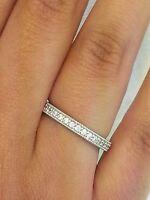14K White Gold Round Diamond Milgrain Wedding Anniversary Ring Eternity Band