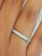 14K White Gold Round Diamond Milgrain Wedding Anniversary Ring Eternity Band