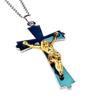Jesue Cross Crucifix Color Change Heat Thermo Wish Mood Pendant Necklace