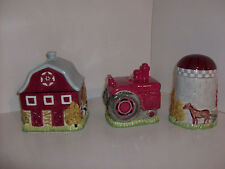 Blonder Home Farm Countr 00004000 y Themed 3 Piece Cannister Set, Barn/Tractor/Silo