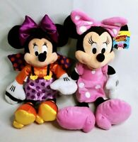 Disney MINNIE MOUSE Plush Lot - Trick or Treat HALLOWEEN & Roadster Racers