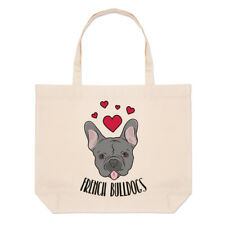 Love French Bulldogs Large Beach Tote Bag - Dogs Dog Puppy Funny Shoulder