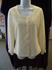 Chic Vintage 1970's Ivory Lace Cardigan by Fritzi, Long Sleeves with Ruffle