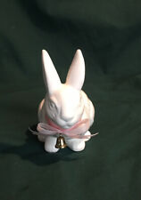 Vintage Crouching White Porcelain Rabbit Wearing a Pink Ribbon & a Gold Bell5X4�