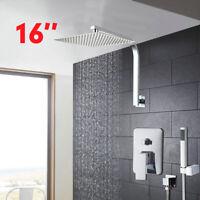 Bathroom 16 inch Square Rain Shower Head Hand Held Spray Mixer Shower Faucet Set