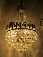 Antique French HUGE Basket Crystal Chandelier Lamp Lustre Luster1940's 16in Ø ,,