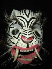 193 TIGER WHITE WOODEN MASK  tigre wild animal handcraft wall decor artesania