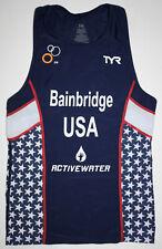 Tyr Men's Medium Navy Blue Red White Triathlon Tank Itu Team Usa Bainbridge New