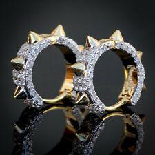 Men's 14k Gold Plated Hip Hop Spiked Iced Cz Huggie Hoop Earrings