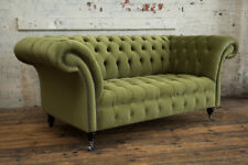 MODERN HANDMADE 2 SEATER SOFT GREEN VELVET CHESTERFIELD SOFA COUCH CHAIR