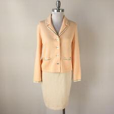 St John Evening Skit Suit S 4 6 8 peach Embellished Santana Knit ivory Wool