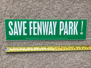 "Rare ""Save Fenway Park!"" Bumper Sticker Red Sox"