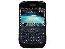 Rubberized Plastic Case Cover with Diamonds Black For BlackBerry Curve 8900