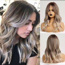 Women Hair Wigs With Bangs Synthetic Ombre Grey Blonde Brown Medium Wavy Cosplay