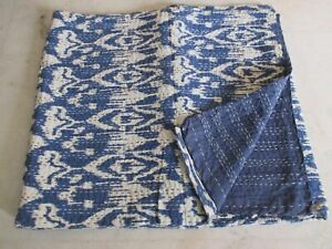 Indian Cotton Queen Size Kantha Quilt Bedspread Bed Cover Coverlet Ikat Print