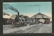 Un saluto da Treviso - Interno Stazione con Treno a Vapore - Viaggiata 1918