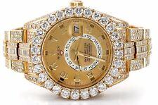 Rolex Sky-Dweller Yellow Gold 326938 Huge Bezel Fully Iced Out Baguette Diamonds