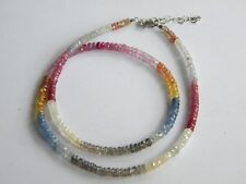 Faceted gemstones beads necklace SILVER 925 sapphires peridots rubies citrines
