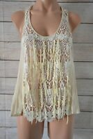 Wish Liberate Top Tank Blouse Silk Size Small 8 Cream White Broderie Anglaise