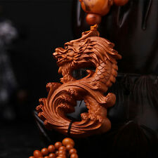Dragon Loong 3D Wood Carving Chinese Feng Shui Kallaite Amber Beads Car Pendant