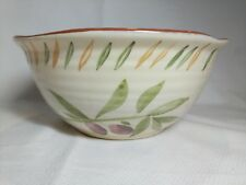 Santorini Mixing Salad Bowl Painted, Olives on the Sides Signed Judith M. Kuyer