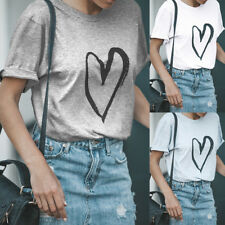 UK Womens Ladies Heart Printed Summer Loose Tops Short Sleeve Blouse T Shirt Tee