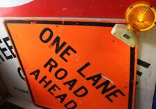 "One Lane Road Ahead Reflective Sign 48"" with Warning Light"