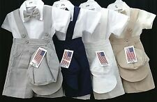 NEW Fouger Kids #111 WEDDING Ring Boys PAGEANT Shortalls Bowtie 4 pc shorts set