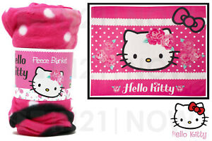 Hello Kitty Childrens Character Flannel Fleece Blanket Bed Sofa Throw Soft Warm