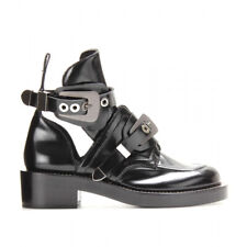 Balenciaga Ceinture Black Leather Buckle Cut Out Short Ankle Combat Boot 40