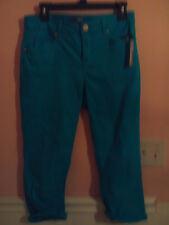 NWT New Directions ladies paris turquoise capri style pants w/rollable cuffs; 8