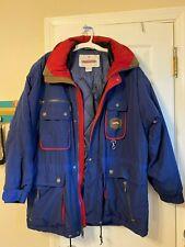 OBERMEYER Skiwear Vintage Navy Blue & Maroon Coat w/ Hood