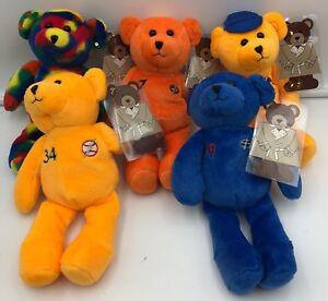 "(5)x Flash Plush Toy Sport Bear Set Ryan Elway Gretzky Rodman Texas Toy Set 8"""