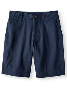 Wonder Nation Boys Flat Front Shorts Size 18 Blue School Uniform Approved NEW