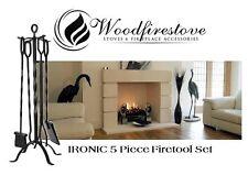 IRONlC 5 Piece Firetool Set - 81cm Height FIRETOOLS Poker/Tongs/Shovel/Brush