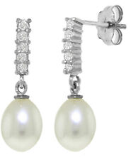 14K Solid White Gold Stud Dangle Earrings Natural Diamond and Briolette Pearl