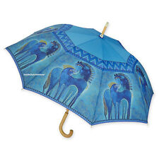 Laurel Burch  Stick Umbrella Auto Open Teal Mares Large Canopy NEW
