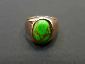 925 Sterling Silver Overlay Green Copper Turquoise Gemstone Anniversary Mens Rin