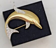 Vintage 9ct gold Dolphin brooch.