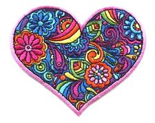 HEART colorful paisley EMBROIDERED IRON-ON PATCH  peace love flowers hippie 70's